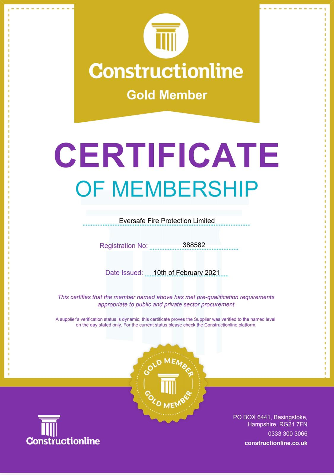 Constructionline Gold Member Certificate